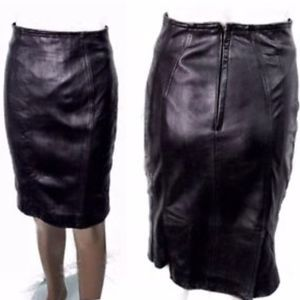 NETO Black Genuine Leather Wiggle Skirt Sz 4 Vtg